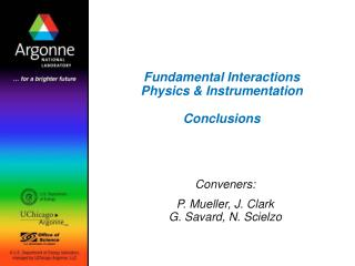 Fundamental Interactions Physics  Instrumentation  Conclusions