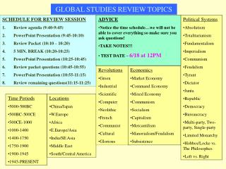 GLOBAL STUDIES REVIEW TOPICS