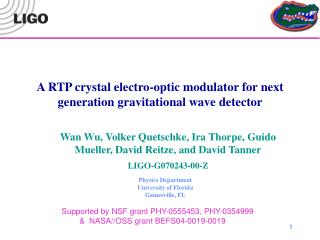 A RTP crystal electro-optic modulator for next generation gravitational wave detector