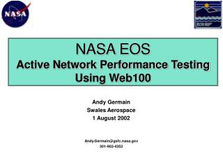 NASA EOS Active Network Performance Testing Using Web100