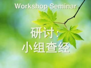 Workshop Seminar 研 讨 : 小 组查经