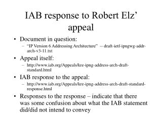 IAB response to Robert Elz' appeal