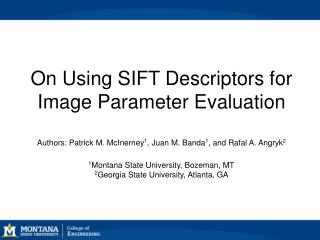 On Using SIFT Descriptors for Image Parameter Evaluation