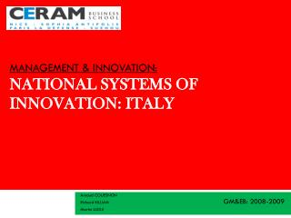 Management & Innovation: National Systems of Innovation:  Italy