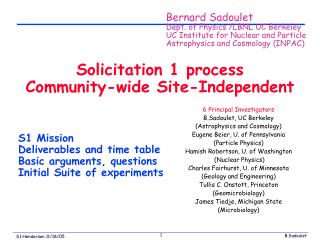 Solicitation 1 process Community-wide Site-Independent