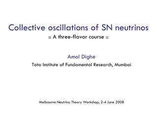 Collective oscillations of SN neutrinos :: A three-flavor course ::