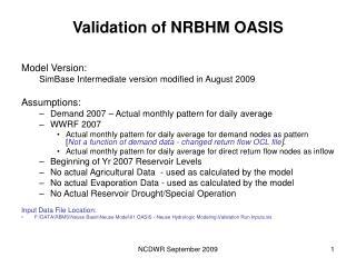 Validation of NRBHM OASIS