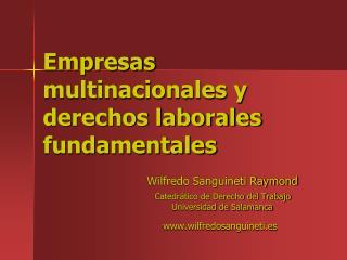 Empresas multinacionales y  derechos laborales fundamentales
