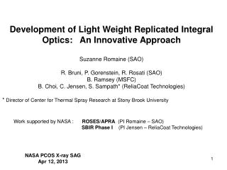 Development of Light Weight Replicated Integral Optics:   An Innovative Approach
