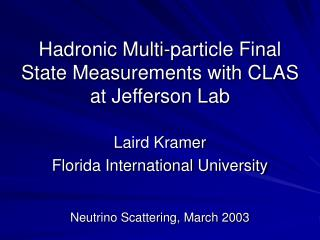 Hadronic Multi-particle Final State Measurements with CLAS at Jefferson Lab