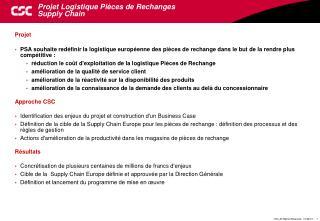 Projet Logistique Pièces de Rechanges  Supply Chain