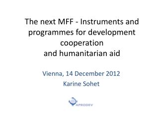 The next MFF - Instruments and programmes for development cooperation and humanitarian aid