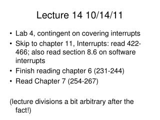 Lecture 14 10/14/11