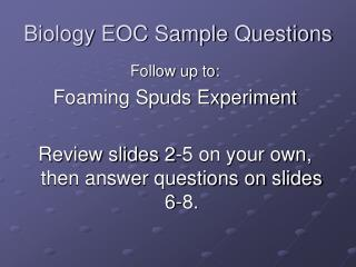Biology EOC Sample Questions