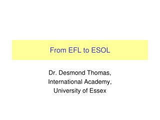 From EFL to ESOL