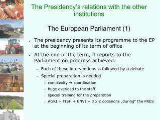 The Presidency's relations with the other institutions The European Parliament (1)