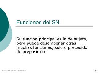 Funciones del SN
