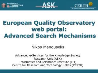 European Quality Observatory web portal: Advanced Search  Mechanisms