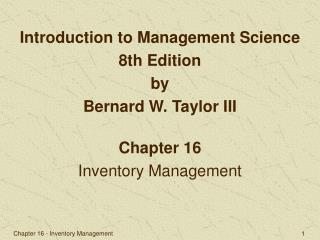 Chapter 16 Inventory Management
