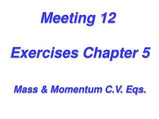 Meeting 12  Exercises Chapter 5 Mass & Momentum C.V. Eqs.