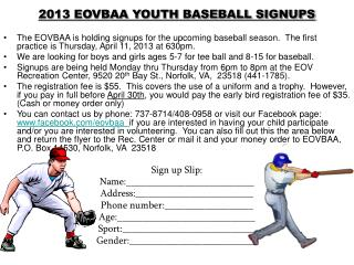 2013 EOVBAA YOUTH BASEBALL SIGNUPS