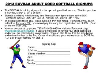 2013 EOVBAA ADULT COED SOFTBALL SIGNUPS