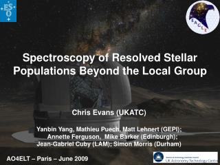 Spectroscopy of Resolved Stellar Populations Beyond the Local Group