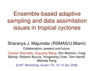 Ensemble-based adaptive sampling and data assimilation issues in tropical cyclones