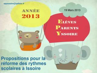 Propositions pour la réforme des rythmes scolaires à Issoire