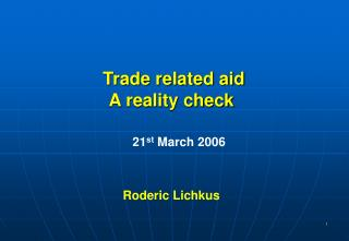 Trade related aid A reality check