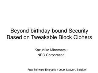 Beyond-birthday-bound Security Based on Tweakable Block Ciphers