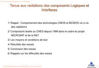 Tenue aux radiations des composants Logiques et Interfaces