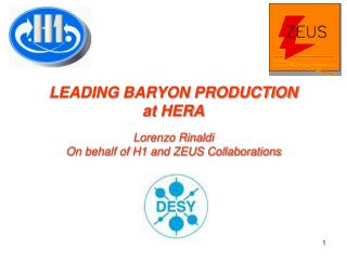 LEADING BARYON PRODUCTION at HERA Lorenzo Rinaldi On behalf of H1 and ZEUS Collaborations