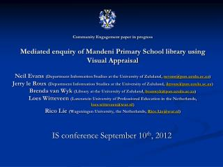 IS conference September 10 th , 2012
