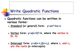 Write Quadratic Functions