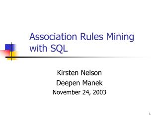 Association Rules Mining with SQL
