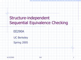 Structure-independent  Sequential Equivalence Checking