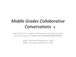 Middle Grades Collaborative Conversations