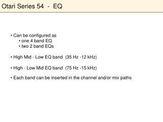Otari Series 54  -  EQ