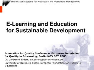 E-Learning and Education for Sustainable Development