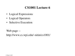 CS1001 Lecture 6