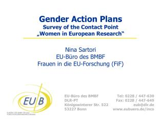 "Gender Action Plans Survey of the Contact Point  ""Women in European Research"""
