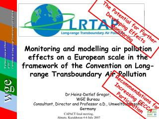 Dr.Heinz-Detlef Gregor, WGE Bureau Consultant, Director and Professor a.D., Umweltbundesamt