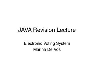 JAVA Revision Lecture