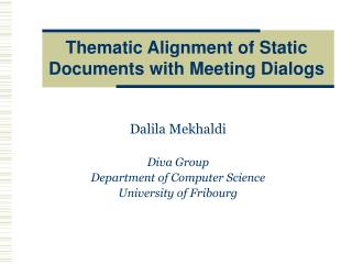 Thematic Alignment of Static Documents with Meeting Dialogs