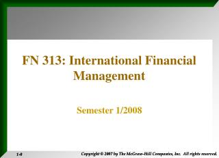 FN 313: International Financial Management
