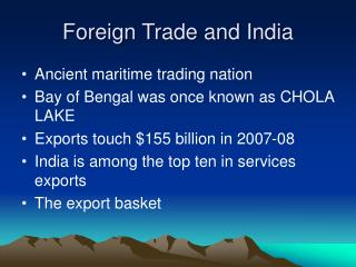 Foreign Trade and India