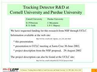 Tracking Detector R&D at  Cornell University and Purdue University