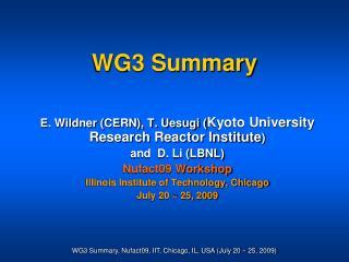 WG3 Summary
