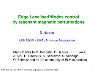 Edge Localised Modes control  by resonant magnetic perturbations